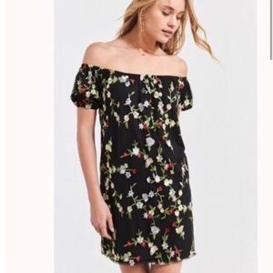 UO Kimchi Blue Floral Embroidered Mini Dress